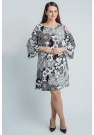 C-8004 MAGNA TOP LANGE MOUW off shoulder print brocant zwart