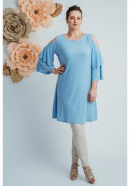 C-8004 MAGNA TOP LANGE MOUW off shoulder kl hemel blauw