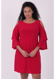 C-8004 MAGNA TOP LANGE MOUW off shoulder kl rood