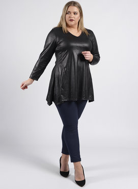 C-356 MAGNA A-LIJN TOP / LEATHER LOOK BASIC ZWART