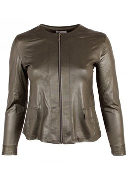 k-31 MAGNA JACKET TELESTO - LEATHERLOOK -(olijf groen) K-31