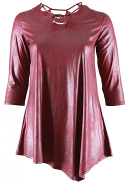 MAGNA JURK/TUNIEK B-5008 - LEATHER LOOK Bordeauxrood