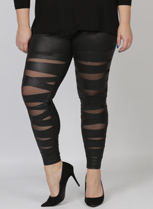 LEGGING MAGNA F-5005 - LEATHERLOOK ZWART STRIPE