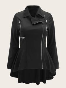 casual jas met ritsen zwart Big & beautyfull