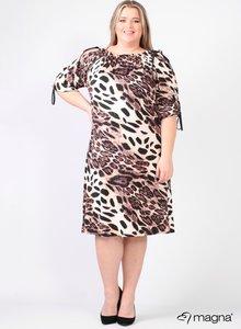 C-2101 - Viscose Printed Cold Shoulder Leather Straps Dress B01064 - Tiger Brown