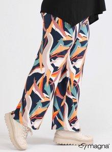 D-0003 - Wide Leg Printed Trouser Z67017 - Art Canvas Blue