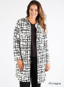 MAGNA BLAZER N-8005 Long Buttoned Blazer Z31001 - B/W Moving Lines Print