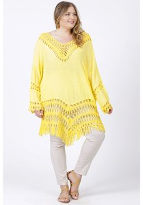 M-9001 - LACE PONCHO GEEL